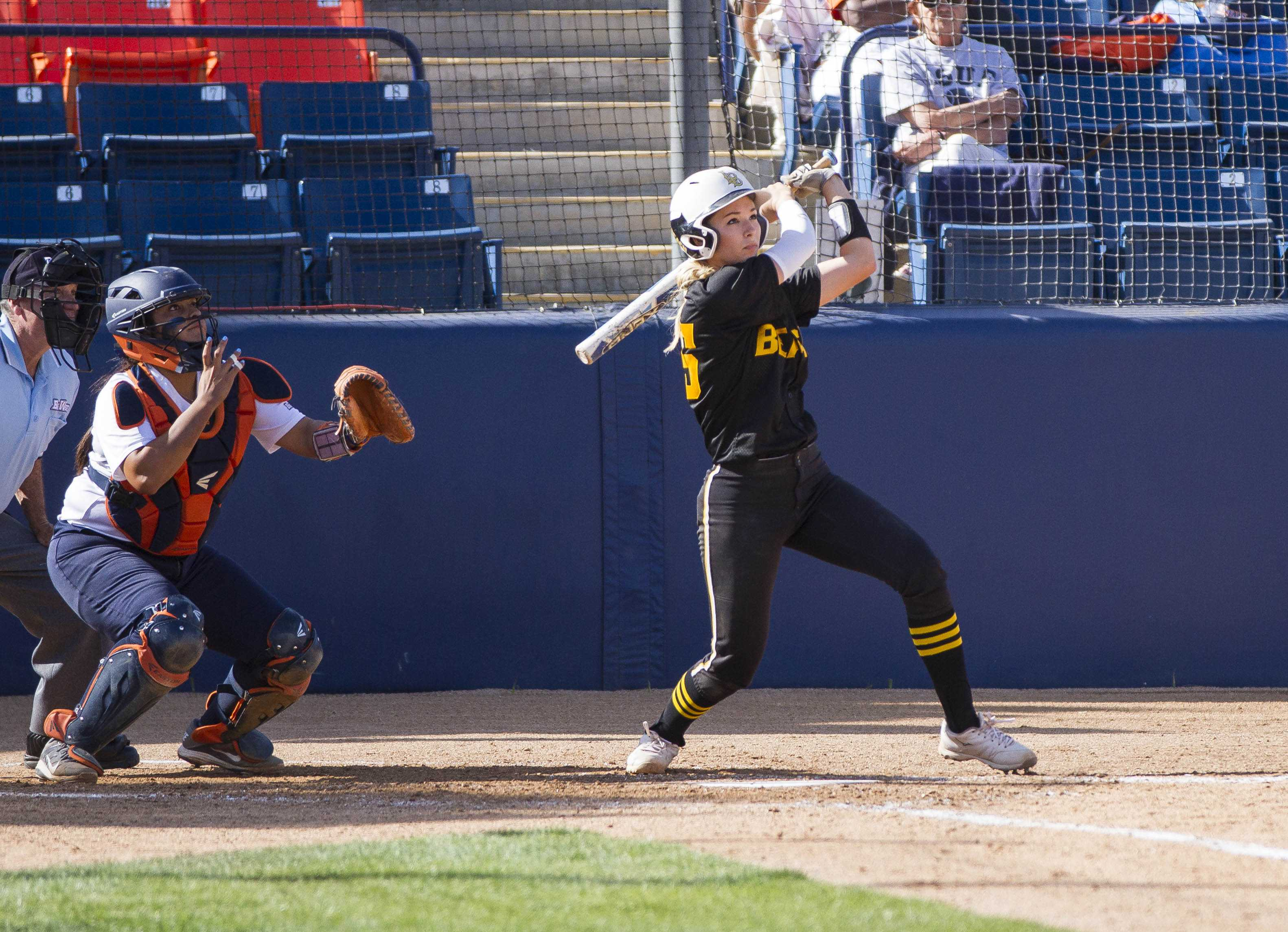 LBSU catcher Lauren MacLeod gets a hit during the 49ers' 8-1 win in game one of Wednesday's doubleheader against Cal State Fullerton at Anderson Family Field.