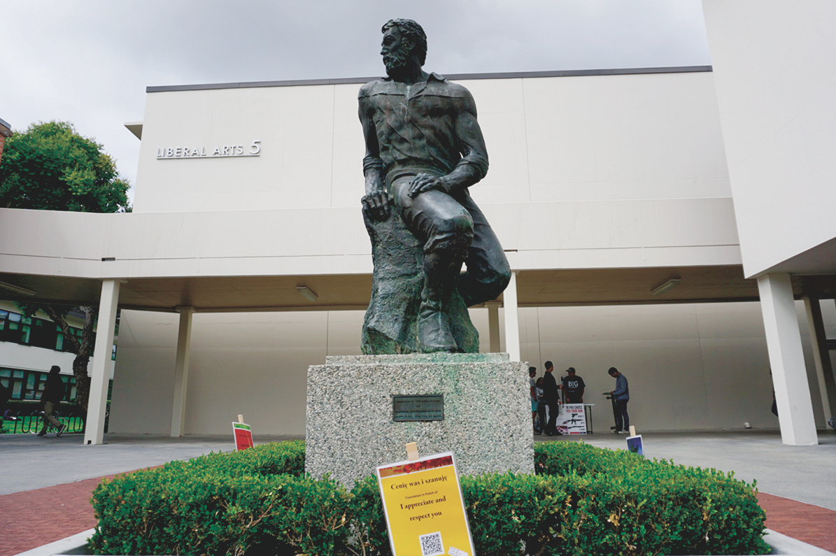 "CSULB's mascot, Prospector Pete, was the set location for the majority of the signs depicting the phrase ""I Appreciate and Respect You"" in numerous languages."
